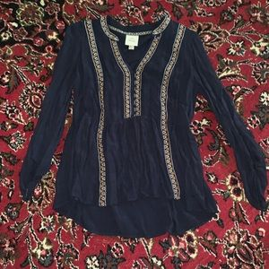 Embroidered navy long sleeved top